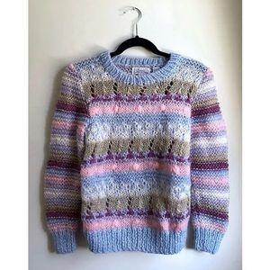 Bliss Pastel Stripe Crewneck Pullover Sweater Blue